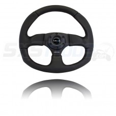 NRG Leather Flat Bottom Series Universal Six Bolt Steering Wheel