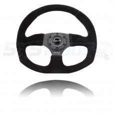 NRG Suede Flat Bottom Series Universal Six Bolt Steering Wheel