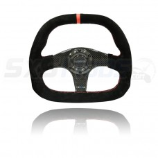 NRG Suede Flat Bottom Carbon Fiber Universal Six Bolt Steering Wheel